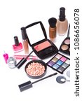 makeup set isolated on white... | Shutterstock . vector #1086656078