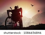 disabled handicapped man has a... | Shutterstock . vector #1086656846