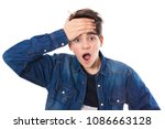 teen with surprise expression | Shutterstock . vector #1086663128
