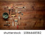 painting still life with lot of ... | Shutterstock . vector #1086668582