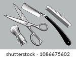 straight razor  scissors  brush ... | Shutterstock .eps vector #1086675602