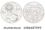 set contour illustrations in... | Shutterstock .eps vector #1086687095