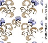 seamless pattern with flowers  ... | Shutterstock .eps vector #1086701168