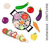vegetables picnic in the open... | Shutterstock .eps vector #1086711446