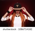 hip hop girl in cap with long... | Shutterstock . vector #1086714182