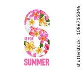summertime floral poster.... | Shutterstock .eps vector #1086715046