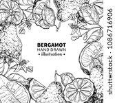 bergamot vector drawing frame.... | Shutterstock .eps vector #1086716906