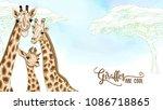 background with giraffe family. ...   Shutterstock .eps vector #1086718865