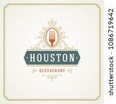 restaurant logo design vector... | Shutterstock .eps vector #1086719642