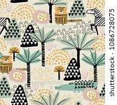 safari animals seamless pattern ... | Shutterstock .eps vector #1086728075