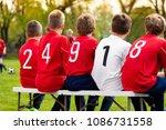 kids soccer team players... | Shutterstock . vector #1086731558