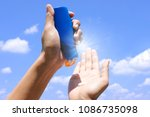 hand of female holding... | Shutterstock . vector #1086735098