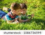 beautiful happy children  boy... | Shutterstock . vector #1086736595