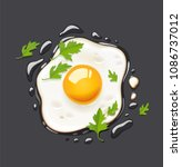 fried egg. fast food. cooking... | Shutterstock .eps vector #1086737012