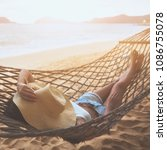 summer vacations concept  happy ... | Shutterstock . vector #1086755078