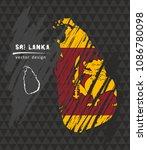 sri lanka map with flag inside...   Shutterstock .eps vector #1086780098
