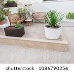 terrace with the mediterranean...   Shutterstock . vector #1086790256