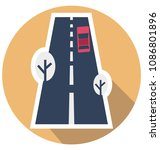 road flat isolated vector icon ... | Shutterstock .eps vector #1086801896