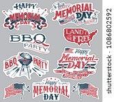 happy memorial day. barbecue... | Shutterstock .eps vector #1086802592