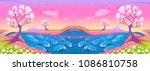 fantasy landscape with castle.... | Shutterstock .eps vector #1086810758
