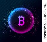 bitcoin conceptual glowing... | Shutterstock .eps vector #1086812702
