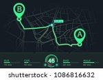 dashboard design gps navigator. ... | Shutterstock .eps vector #1086816632