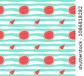 watermelon sliced hand drawn... | Shutterstock .eps vector #1086818282