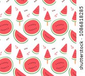 watermelon sliced hand drawn... | Shutterstock .eps vector #1086818285