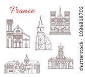 france famous travel landmark... | Shutterstock .eps vector #1086818702