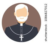 flat icon of an old priest   | Shutterstock .eps vector #1086827012