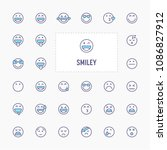smiley and emoticon   thin line ... | Shutterstock .eps vector #1086827912