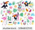 vector set with cartoon... | Shutterstock .eps vector #1086832532