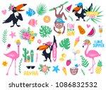 vector set with cartoon... | Shutterstock .eps vector #1086832532