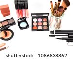 Cosmetic makeup set ,Eyebrow pencil, lipstick and blush on ,on white background.Business concept and includes articles about beauty.