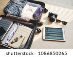 close up of packed suitcase for ... | Shutterstock . vector #1086850265