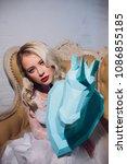 freaky blonde girl and unicorn... | Shutterstock . vector #1086855185