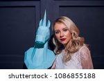 freaky blonde girl and unicorn... | Shutterstock . vector #1086855188