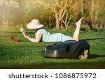 selective focus on summery... | Shutterstock . vector #1086875972