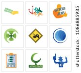 Set Of 9 simple editable icons such as sports fan, bismillah, action plan, globe, towing, extend, good job, myth, money back guarantee, can be used for mobile, web, 48x48 icon
