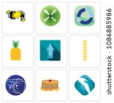 set of 9 simple editable icons...   Shutterstock .eps vector #1086885986