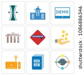 set of 9 simple editable icons... | Shutterstock .eps vector #1086886346