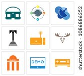 set of 9 simple editable icons... | Shutterstock .eps vector #1086886352