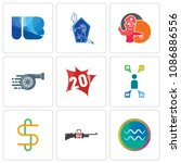 set of 9 simple editable icons...   Shutterstock .eps vector #1086886556