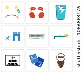 set of 9 simple editable icons...   Shutterstock .eps vector #1086888176