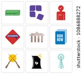 set of 9 simple editable icons...   Shutterstock .eps vector #1086888272