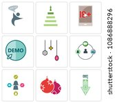 set of 9 simple editable icons... | Shutterstock .eps vector #1086888296