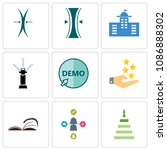 set of 9 simple editable icons... | Shutterstock .eps vector #1086888302