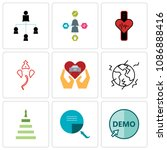 set of 9 simple editable icons... | Shutterstock .eps vector #1086888416