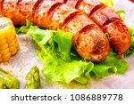 grilled krakauer sausage with... | Shutterstock . vector #1086889778
