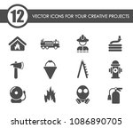 fire brigade vector icons for... | Shutterstock .eps vector #1086890705